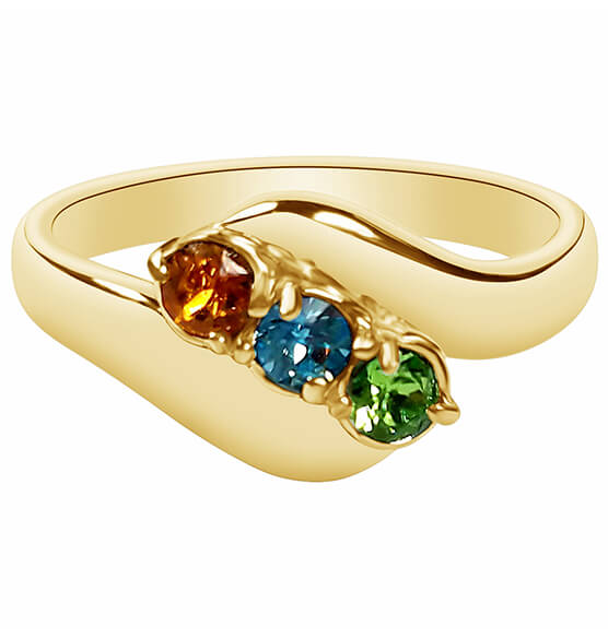 Birthstone Crystal Gold-Plated Bypass Ring - View 3