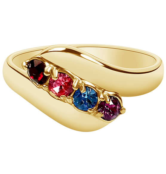 Birthstone Crystal Gold-Plated Bypass Ring - View 4