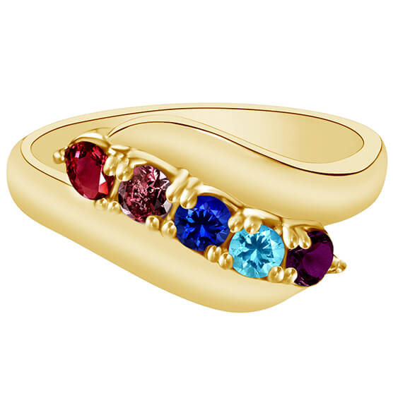 Birthstone Crystal Gold-Plated Bypass Ring - View 5