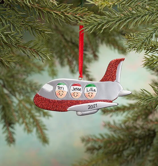Personalized Family Airplane Ornament - View 3