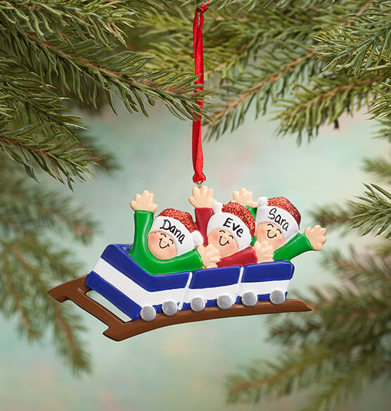 Personalized Family Roller Coaster Ornament - View 2