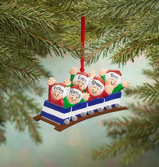 Personalized Family Roller Coaster Ornament - View 4