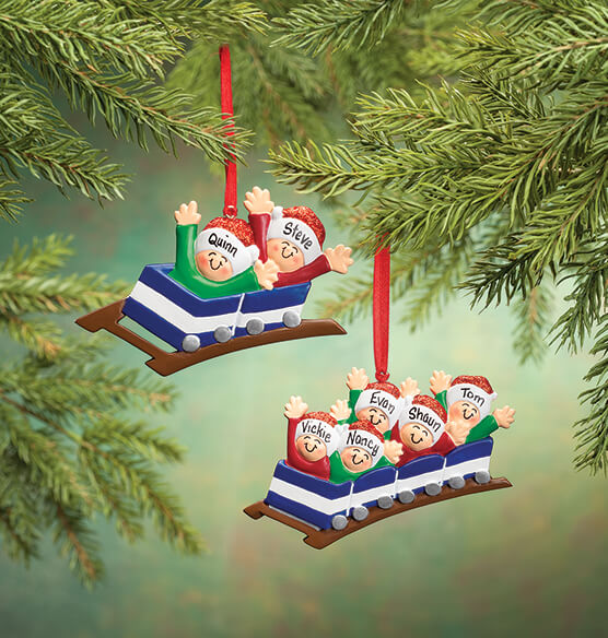 Personalized Family Roller Coaster Ornament - View 5