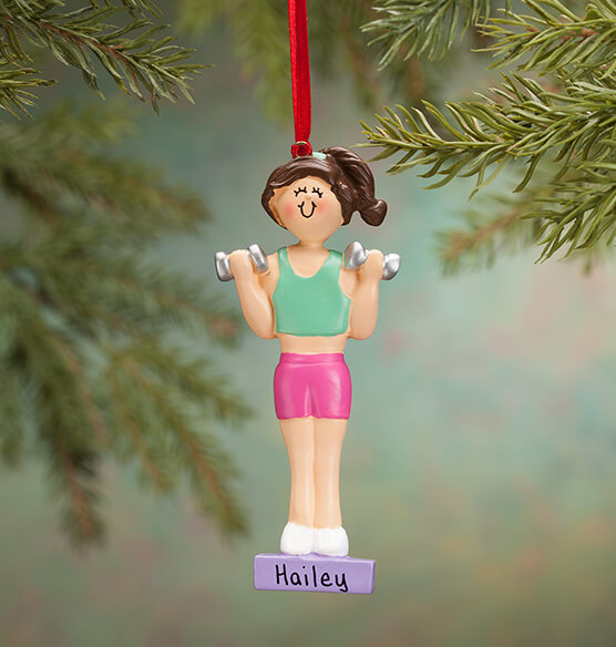 Personalized Weight Lifter Ornament - View 2