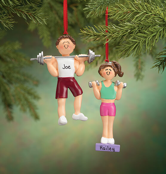 Personalized Weight Lifter Ornament - View 3