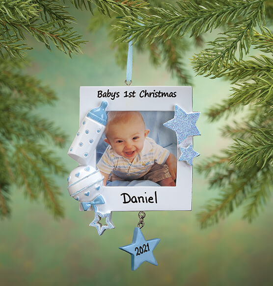 Personalized Baby's First Christmas Frame Ornament - View 2