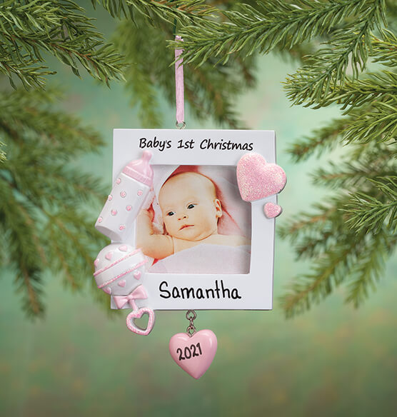 Personalized Baby's First Christmas Frame Ornament - View 3
