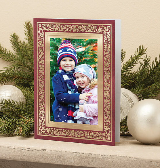 Regal Borders Red Photo Christmas Card, Set of 18 - View 2