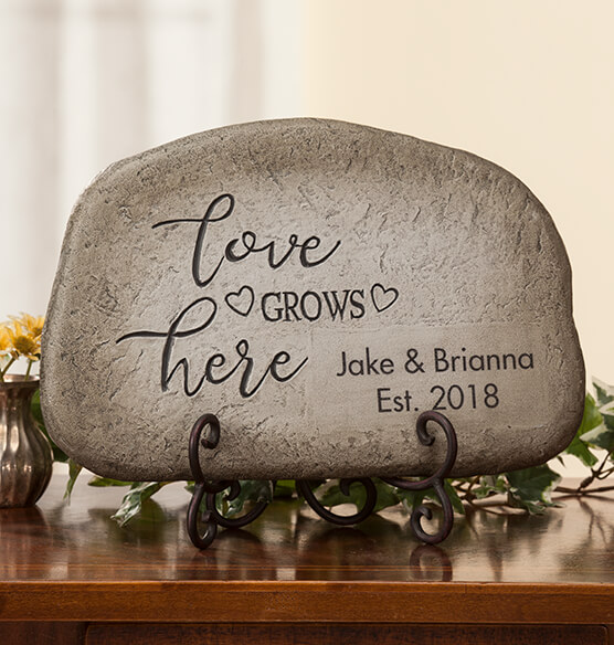 Personalized Love Grows Here Garden Stone - View 2