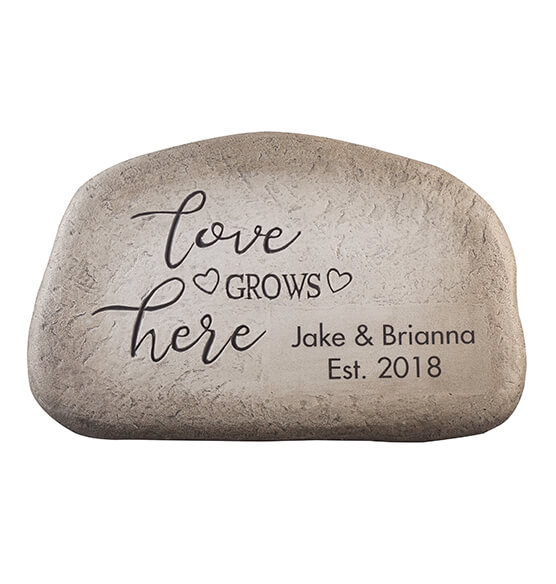 "Personalized ""Love Grows Here"" Garden Stone - View 3"