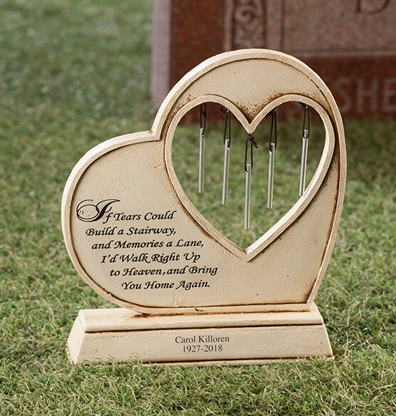 Personalized Memorial Wind Chime Garden Stone - View 2