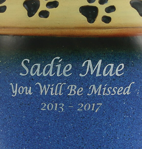 Personalized Blue Ceramic Paw Print Pet Urn - View 2
