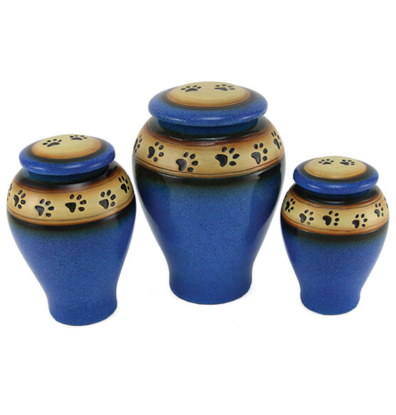 Personalized Blue Ceramic Paw Print Pet Urn - View 3