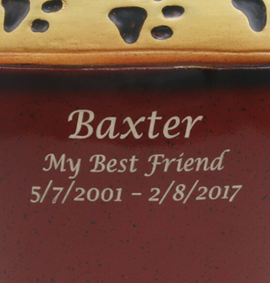 Personalized Red Ceramic Paw Print Pet Urn - View 2