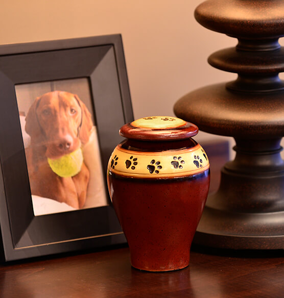 Personalized Red Ceramic Paw Print Pet Urn - View 4
