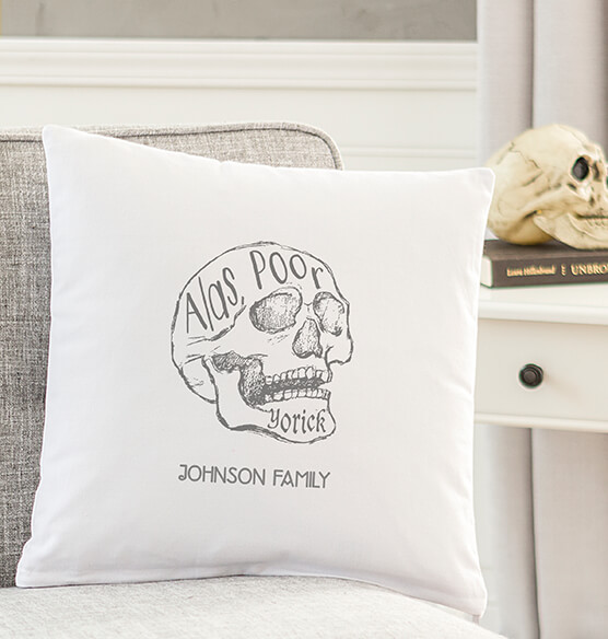 "Personalized ""Alas Poor Yorick"" Throw Pillow - View 2"