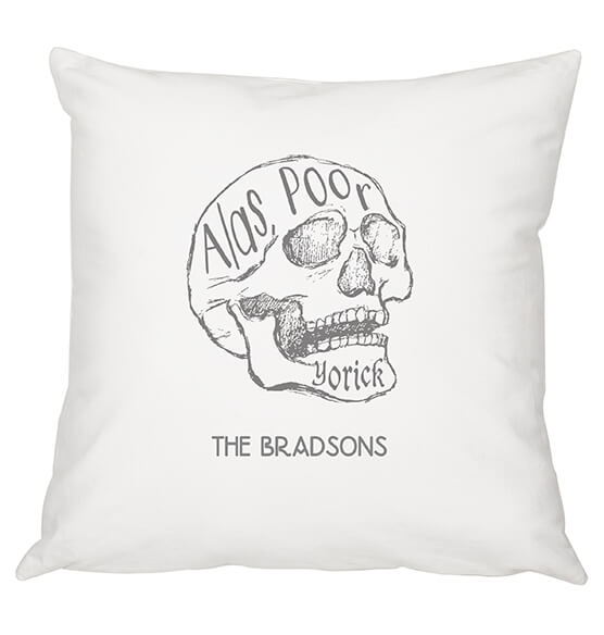 "Personalized ""Alas Poor Yorick"" Throw Pillow - View 3"