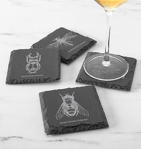 Personalized Halloween Insect Slate Coasters - View 2