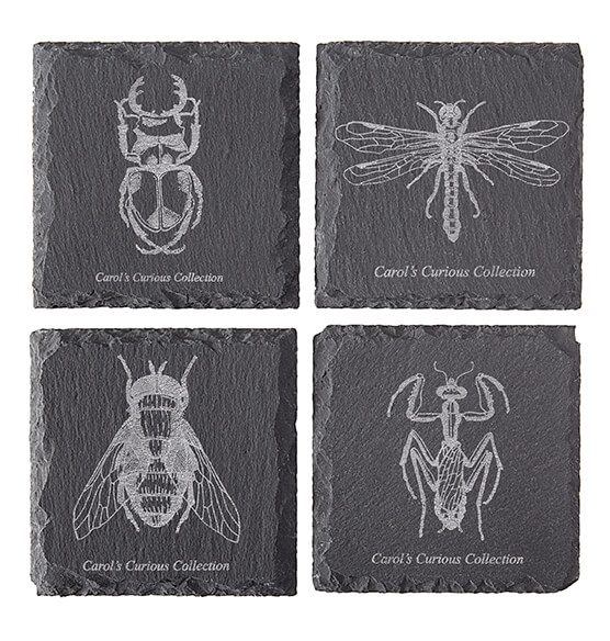 Personalized Halloween Insect Slate Coasters - View 4