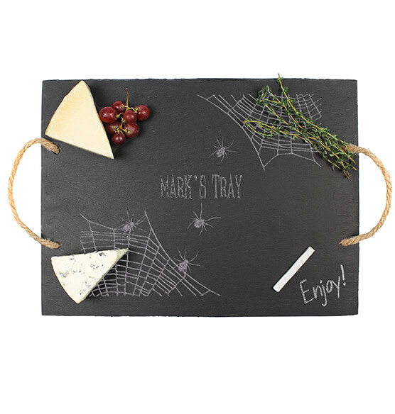 Personalized Spider Web Slate Serving Tray - View 2