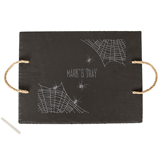 Personalized Spider Web Slate Serving Tray - View 3