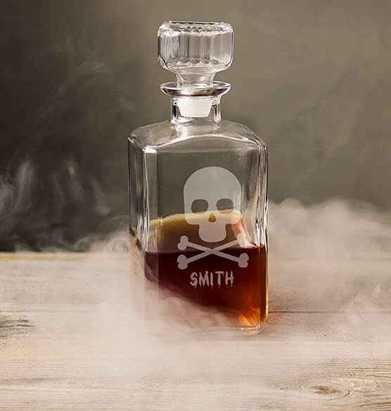 Personalized Skull & Crossbones Glass Decanter, 34 oz. - View 2