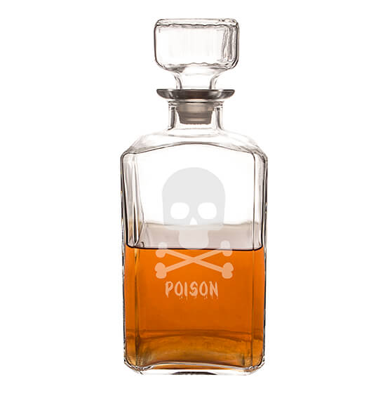 Personalized Skull & Crossbones Glass Decanter, 34 oz. - View 3