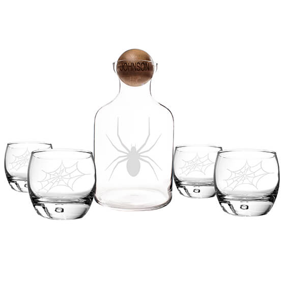 Personalized Toxic Spider Glass Decanter with Wood Stopper - View 3