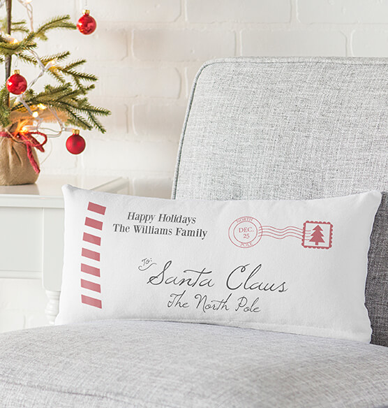 Personalized Letter to Santa Lumbar Throw Pillow - View 2