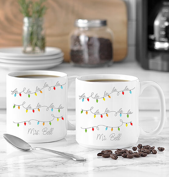 Personalized Fa La La Large Coffee Mugs Set of 2, 20 oz. - View 2
