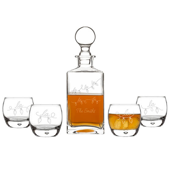Personalized Fa La La Square Decanter Set - View 3