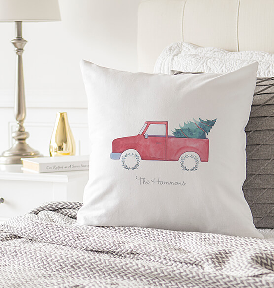 "Personalized Christmas Tree Truck Throw Pillow 16"" - View 2"
