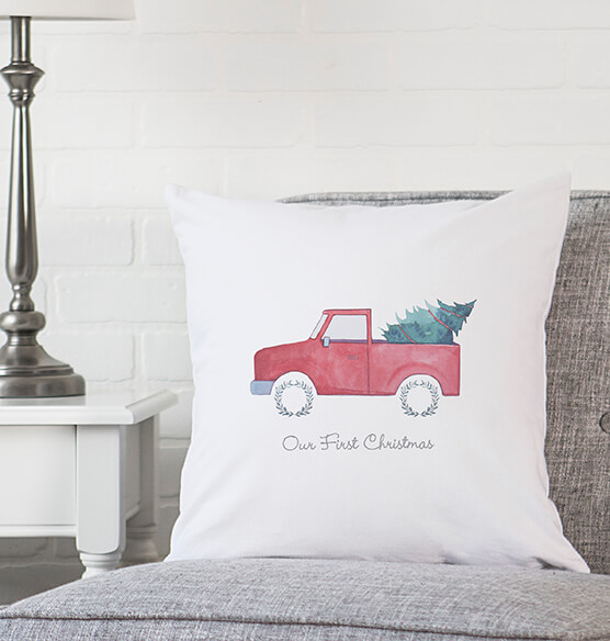 "Personalized Christmas Tree Truck Throw Pillow 16"" - View 3"