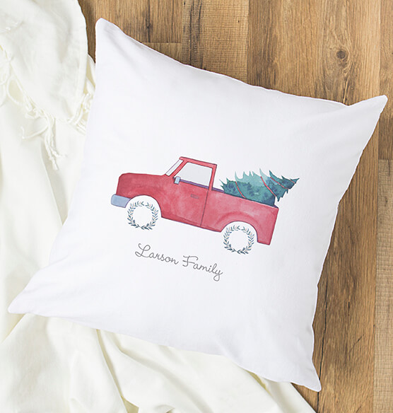 "Personalized Christmas Tree Truck Throw Pillow 16"" - View 4"