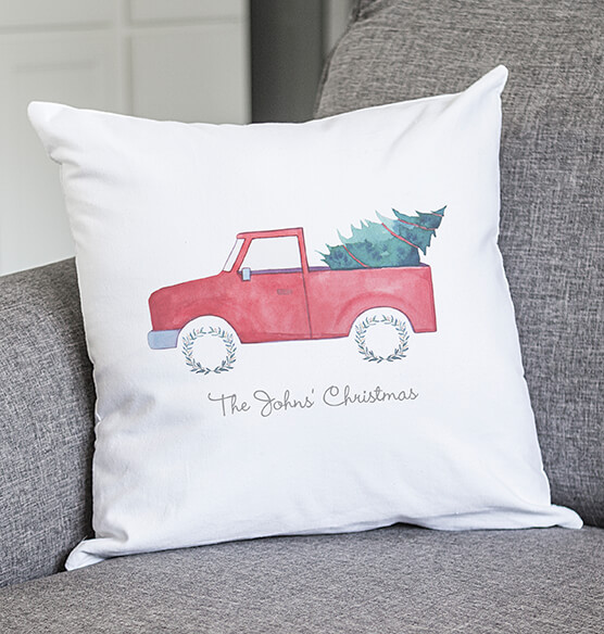 "Personalized Christmas Tree Truck Throw Pillow 16"" - View 5"