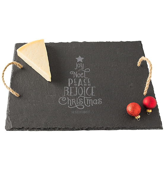 Personalized Christmas Tree Slate Serving Board - View 2