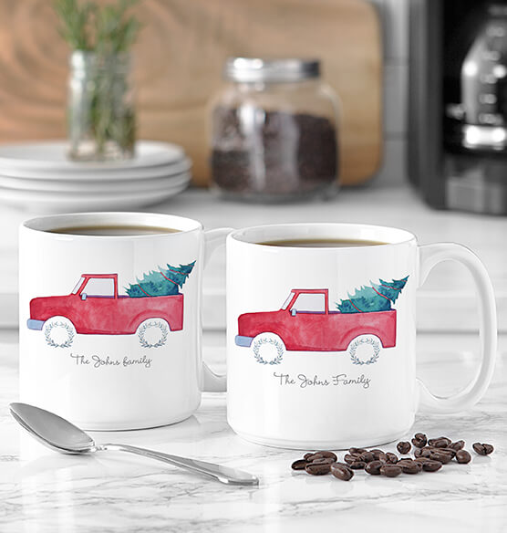 Personalized Christmas Tree Truck Large Coffee Mugs 20 oz. - View 2