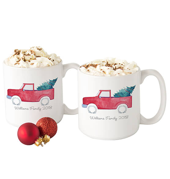 Personalized Christmas Tree Truck Large Coffee Mugs 20 oz. - View 4
