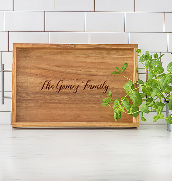 Personalized Acacia Tray with Metal Handles - View 2