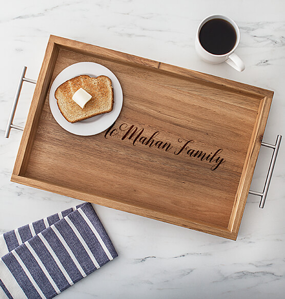 Personalized Acacia Tray with Metal Handles - View 3