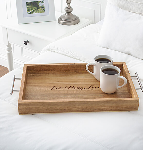 Personalized Acacia Tray with Metal Handles - View 4
