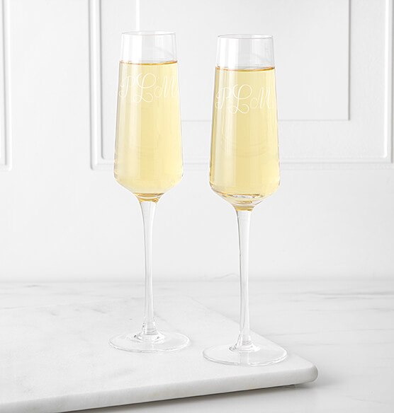 Personalized Champagne Estate Glasses Set of 2, 9.5 oz. - View 3
