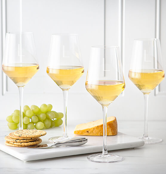 Personalized White Wine Estate Glasses Set of 4, 14 oz. - View 2