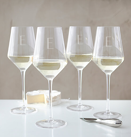 Personalized White Wine Estate Glasses Set of 4, 14 oz. - View 3