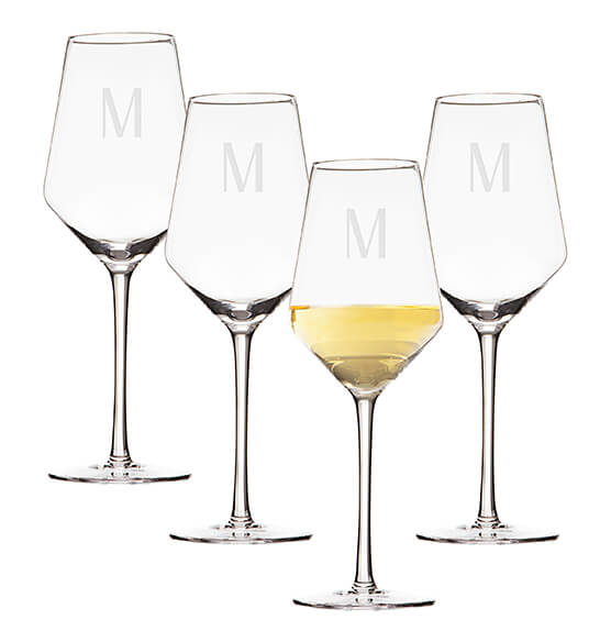 Personalized White Wine Estate Glasses Set of 4, 14 oz. - View 5