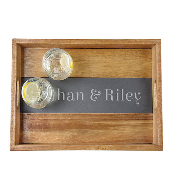 Personalized Acacia and Slate Tray - View 4