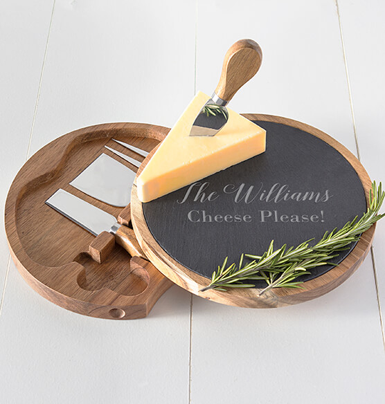Personalized Slate and Acacia Cheese Board with Utensils - View 2