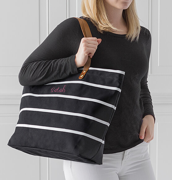 Personalized Large Striped Tote Bag - View 2