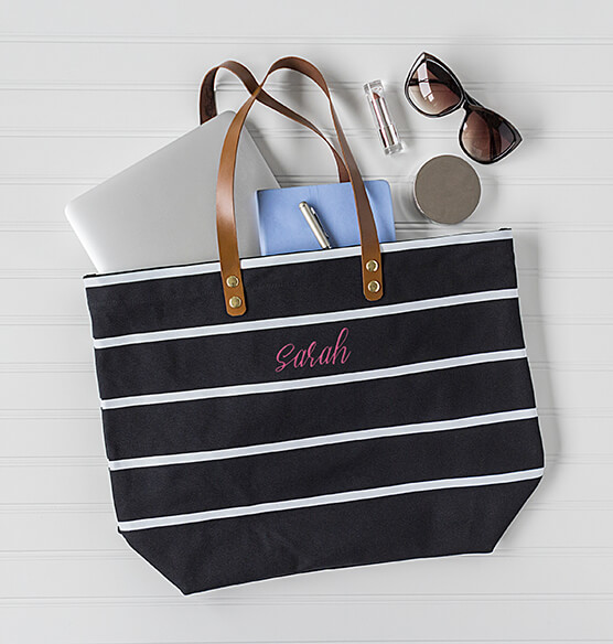 Personalized Large Striped Tote Bag - View 3