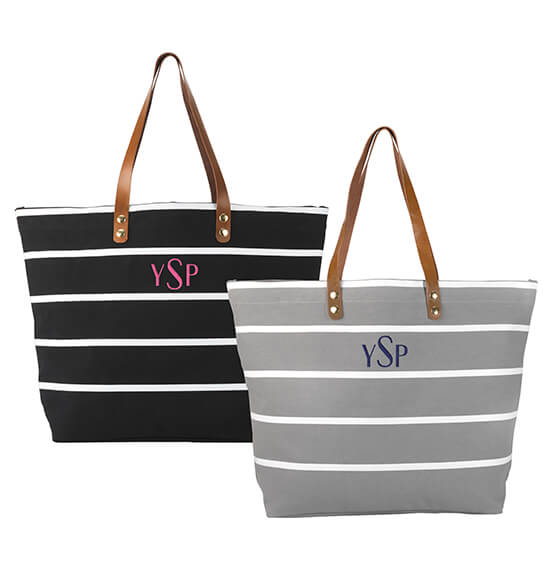Personalized Large Striped Tote Bag - View 5